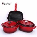 Emaille Kochgeschirr Set von 3-Casserole, Grillpfanne
