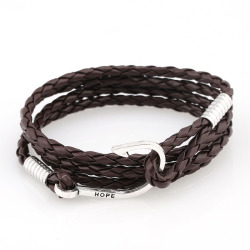 Mens leather wrap fish hook bracelet