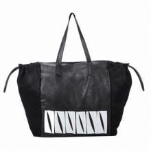 Ladie's Large Size Metal Decorated Casual Promotional PU Tote Bag, Customized Designs are Accepted