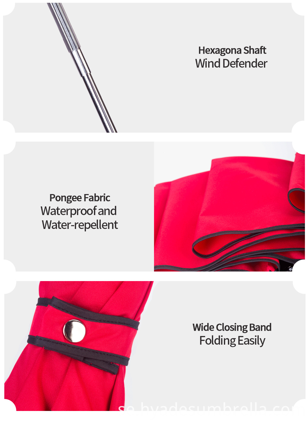 Red 3 Folding Umbrella Big Close Band