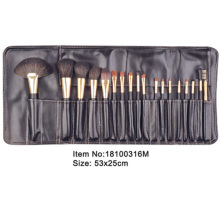 18pcs black plastic handle aniamal/nylon hair makeup brush tool set with black PU fold case