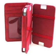 Durable Red Pu Leather Iphone Protective Case With Card Holder , Iphone 4 Cover