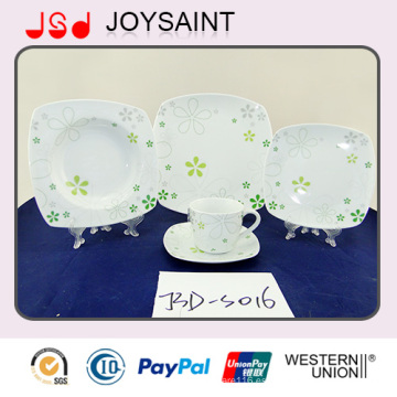 Uso de la placa de la comida de la forma cuadrada de la porcelana de la etiqueta 18PCS para el hotel casero