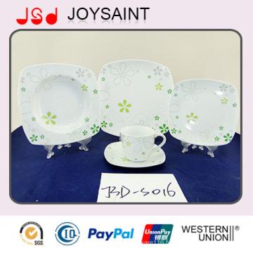 Utilisation de plat de forme carrée de porcelaine de décalque de 18PCS pour l'hôtel à la maison