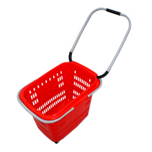 röd snabbköp plastkorg med dubbla handtag