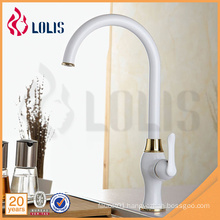 China sanitary ware supplier single handle white long neck kitchen faucet