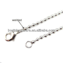 Moda alta qualidade metal homens aço inoxidável bola cadeia colar