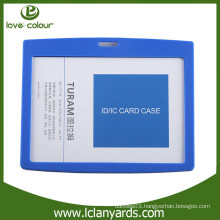 Custom hard plastic blue ABS material horizontal ID card holder