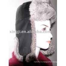 Шиншилла кролик шляпа с кожа ягненка натуральный серый цвет ушанке