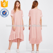 Striped Sleeve Flounce Hem Heathered Tee Dress Manufacture Wholesale Fashion Women Apparel (TA3210D)