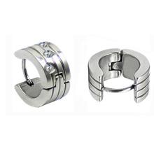 Pendientes de plata pequeños Huggie Hoop con aretes de cristal claro Hoop Huggies HE-022
