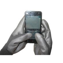 13Г черные полиэстер вкладыша Покрынную PU Сенсорный экран перчатки работы