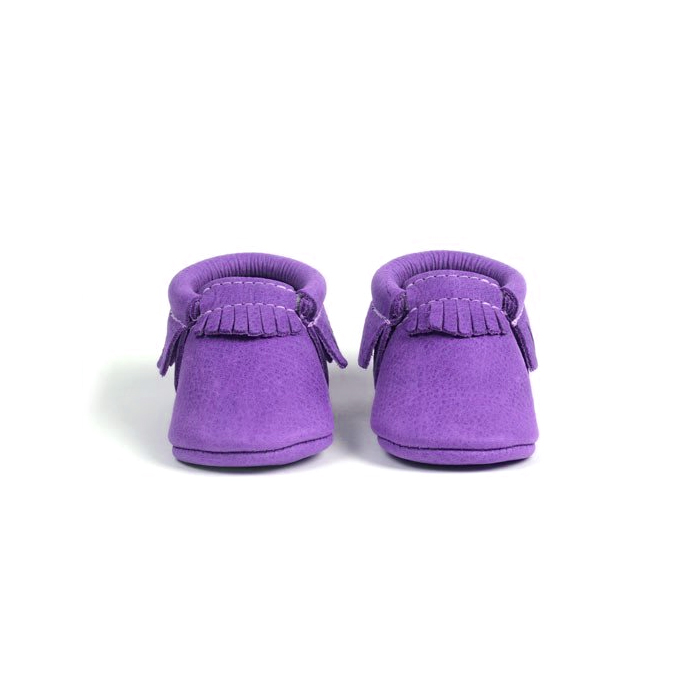 Wholesale Quality Real Leather Purple Moccasins Shoes Baby