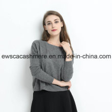 Graue Farbe Lady Pure Cashmere Rundhals Pullover