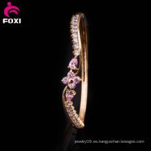 Brazalete de Zirconia plateado oro de alta moda para las mujeres