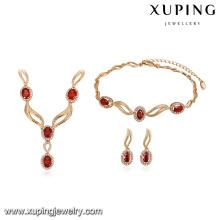 64175 xuping new design 18k fashion elegant gold dubai wedding jewelry set 3 piece set
