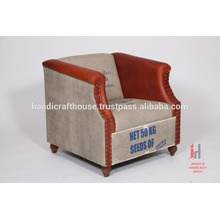 Industrial antique leather and canvas printed sofa