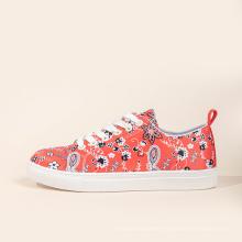 Hot sale orange flower fashion shoes women casual sport shoes platform trendy shoes Increase comfortable Breathable