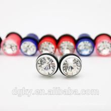 colorful acrylic Crystal Gem ear gauge Black line ear plug