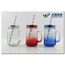 16 Unzen Glas Einmachglas mit Griff Zinndeckel Stroh