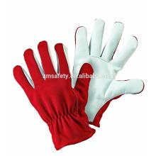 Durable All Seasons Guantes de mano de cuero industrial con espalda roja de Spandex