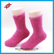 Colorful women indoor microfiber fuzzy socks/floor socks