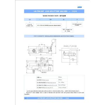 Válvula divisora de troncos de control manual hidráulico de 90 lpm con un carrete