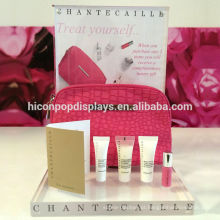 Produtos de marca de luxo Publicidade de varejo Clear Acrílico Countertop Cosmetic Bag Perfume Display Risers