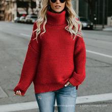 Fall Autumn Women′s Sweaters Tops Elegant Longsleeve Turtle Neck Women Blouses