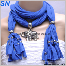 2014 Fashion Lady′s Blue Pendant Scarves (SNSMQ1009)