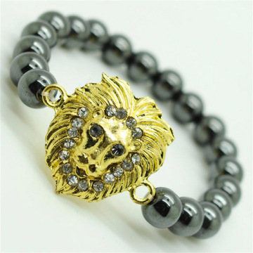 Pulsera Hematite 8MM Round Beads Stretch Gemstone con Diamante aleación Lion Head Piece