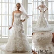Volantes de organza y vestidos de boda de encaje appliqued y vestido de novia
