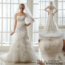 organza ruffle and appliqued lace wedding gowns and bridal dress