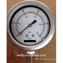Jauge haute pression en acier inoxydable pour gaz naturel