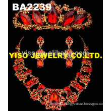 red rhinestone jewelry set