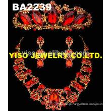 Conjunto de jóias de rhinestone vermelho