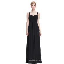 Starzz Sweetheart sin mangas de gasa negro vestido de noche larga ST000065-1