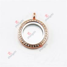 Pendentif 25mm en alliage en métal rose or en cristal / pendentif rond (à partir de RCL50925)
