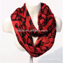 Fashion print viscose infinity lady scarf