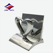 Suporte de cartão de escritório decorativo de prata brilhante para mesa de trabalho