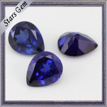 Pera Brilliant Diamond Cut Gran Tamaño Blue Sapphire Corundum