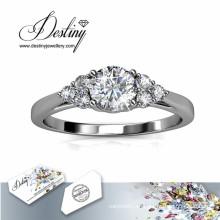 Destino joyería cristal de elegante anillo de brillantes Swarovski