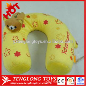 Stuffed cute and lovely bear shaped yellow neck p[illow plush neck pillow