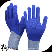 SRSAFETY 13 gauge crinkle blue latex cut resistant latex glove with level 5