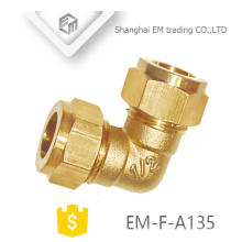 EM-F-A135 Hexagon head brass quick connector 90 degree elbow pipe fitting