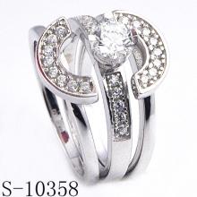 925 Sterling Silber Ehering mit CZ (S-10358. JPG)