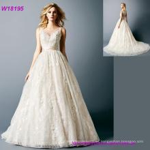 Vestido de boda del vestido de bola del cordón de lujo princesa novia vestido de novia vestido de novia vestido