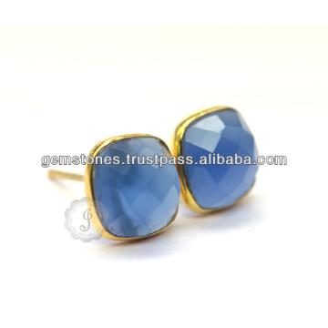 Красивый Золотой Покрытием Голубой Халцедон Серьги Оптом Позолоченные Драгоценный Камень Безель Серьги