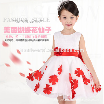 One piece flower girl dress for party and wedding kids floral princess first birthday dress for baby girl