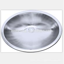 Fregadero de lavabo oval redondo de acero inoxidable para baño, Fregadero de recipiente de acero inoxidable, Fregadero de baño de acero inoxidable con recipiente ovalado